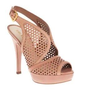 Prada Brown Perforated Leather Platform Sandal